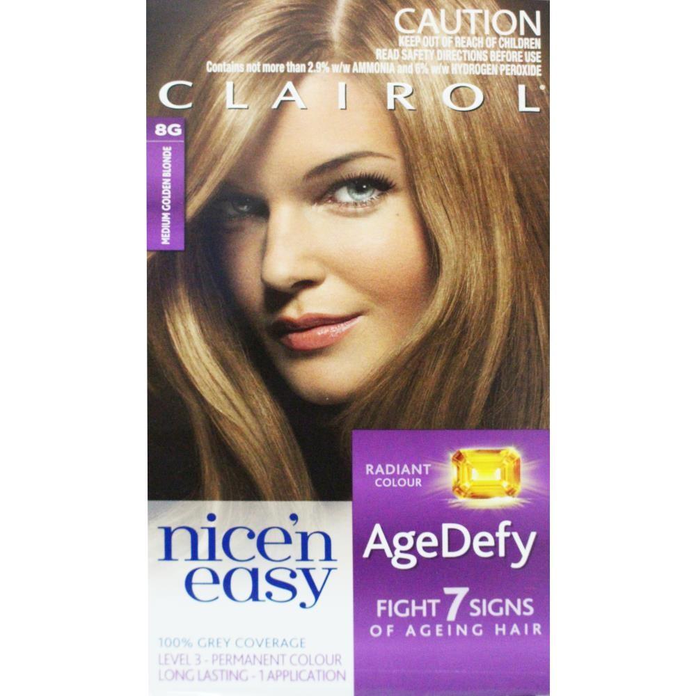 Clairol Nice N Easy Age Defy Permanent Hair Colour 8g Medium Golden